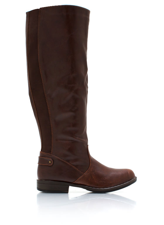 Elastic Back Riding Boots BROWN