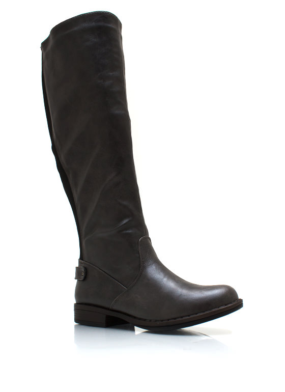 Elastic Back Riding Boots GREY