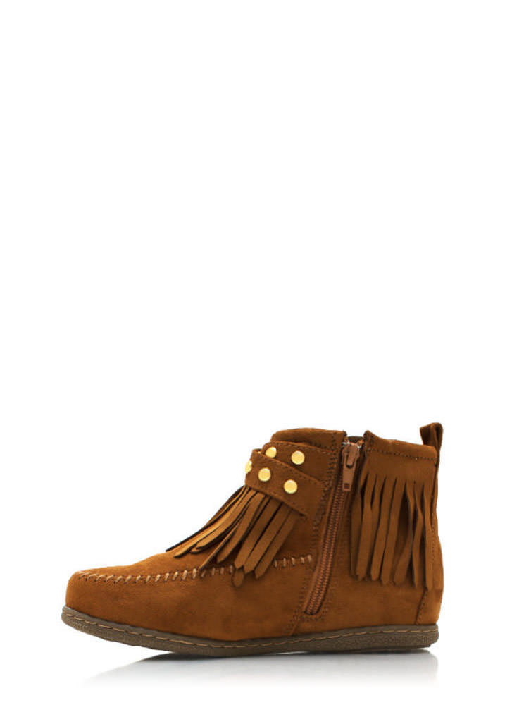 Do Not Mock Me Fringe Booties TAN