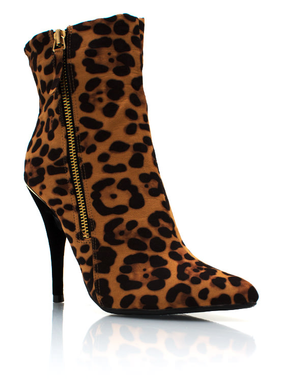 Zippy Suede Leopard Booties LEO