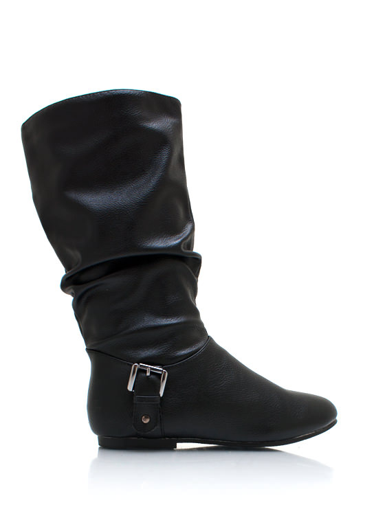 Slouchy Buckle Boots BLACK