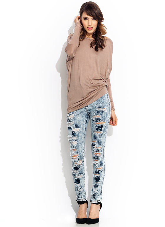 High Waisted Acid Wash Jeans LTBLUE