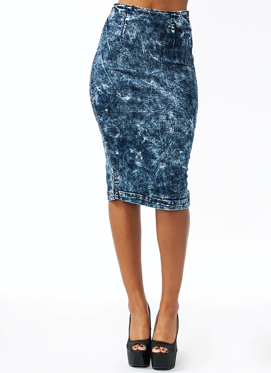 Denim Pencil Skirt DKBLUE