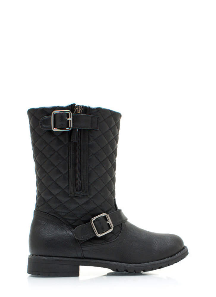 Quite Quilted Low Rise Boots BLACK
