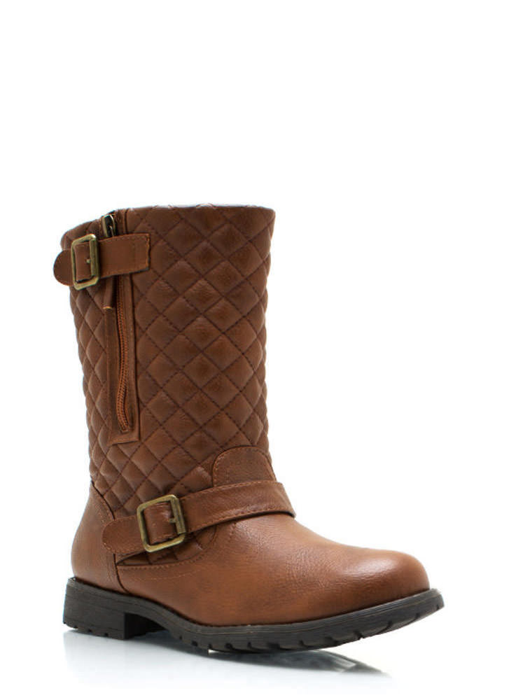 Quite Quilted Low Rise Boots CHESTNUT