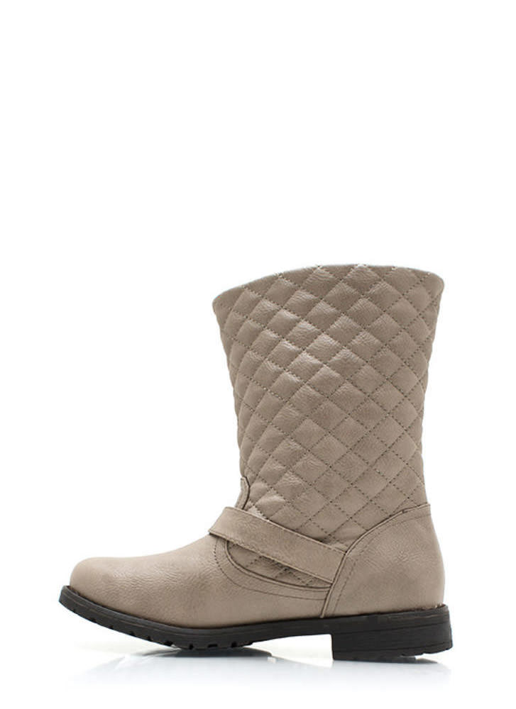 Quite Quilted Low Rise Boots STONE