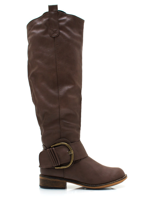 Big Deal Buckled Riding Boots BROWN