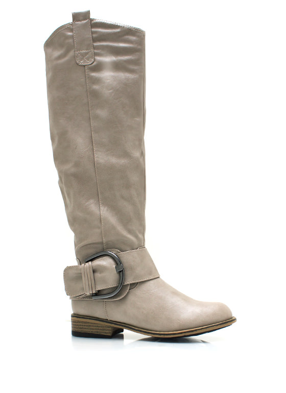 Big Deal Buckled Riding Boots TAUPE