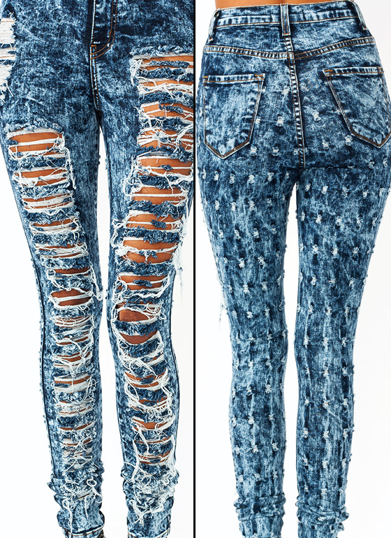 High-Waisted Destroyed Jeans BLUE