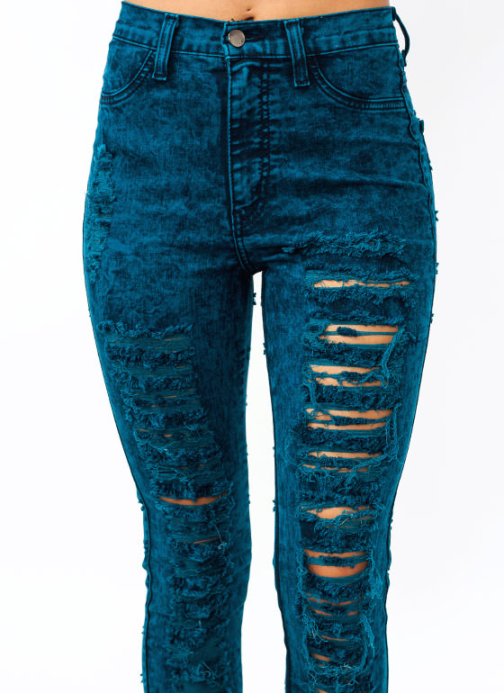 High-Waisted Destroyed Jeans TEAL