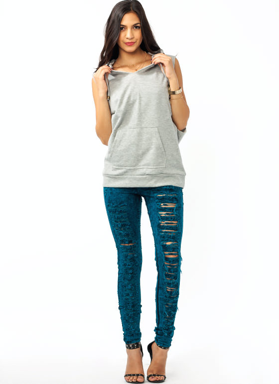 High Waisted Destroyed Jeans TEAL
