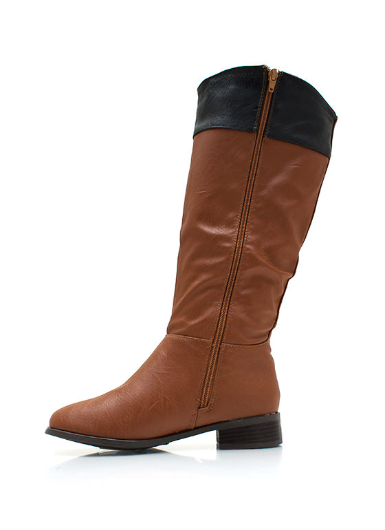 Two Tone Faux Leather Riding Boots CHESTNUT
