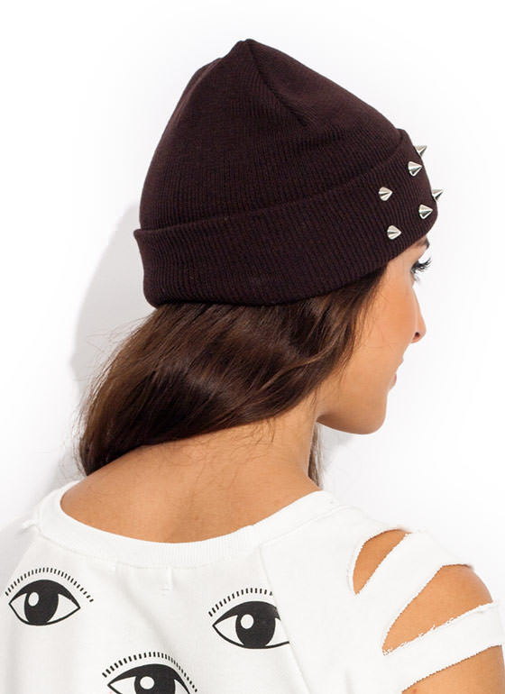 So Spiked Beanie BROWN