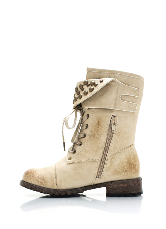 Dome Studded Burnished Combat Boots NATURAL