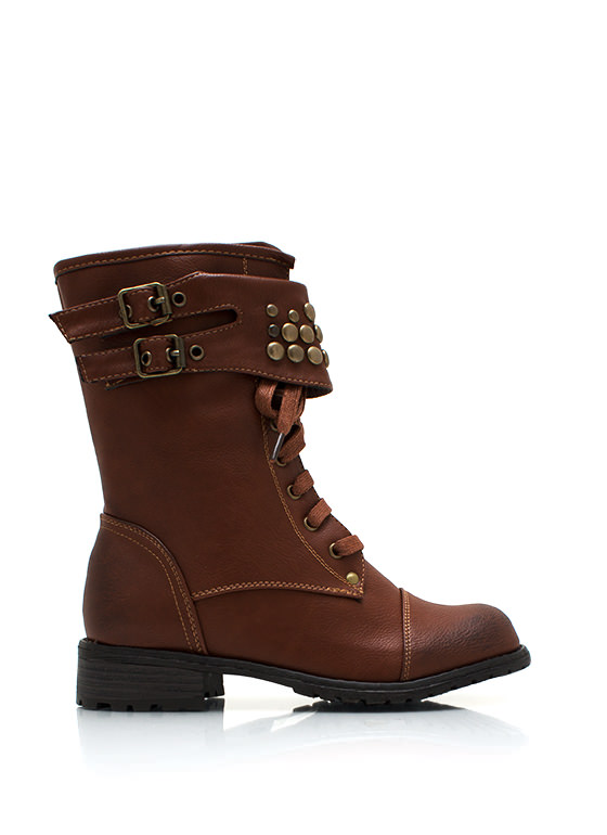 Dome Studded Burnished Combat Boots WHISKY