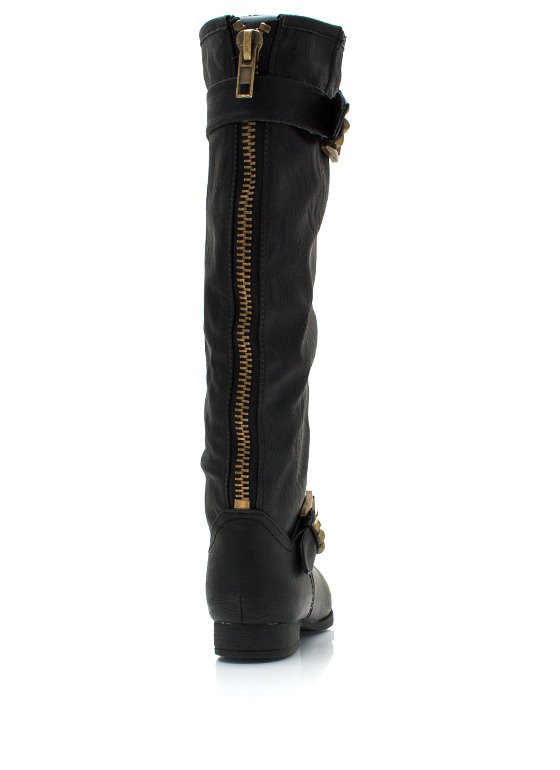 Pyramid Studded Riding Boots BLACK