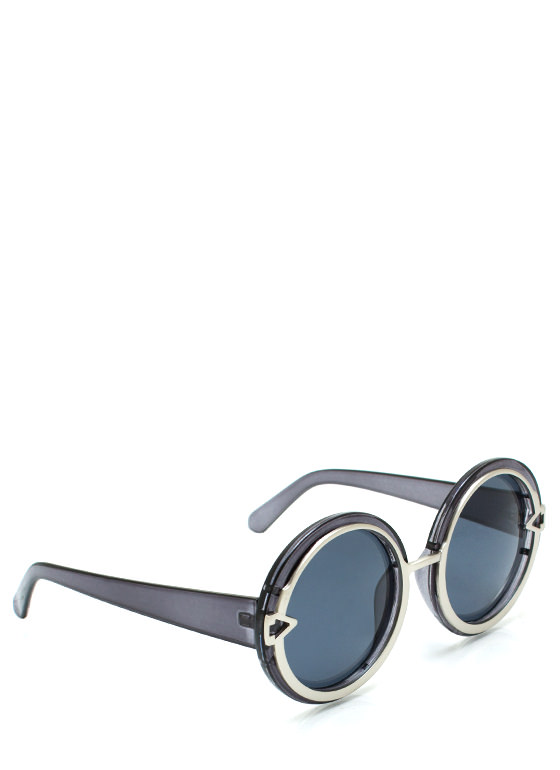 Metal In Round Sunglasses SLATESILVER
