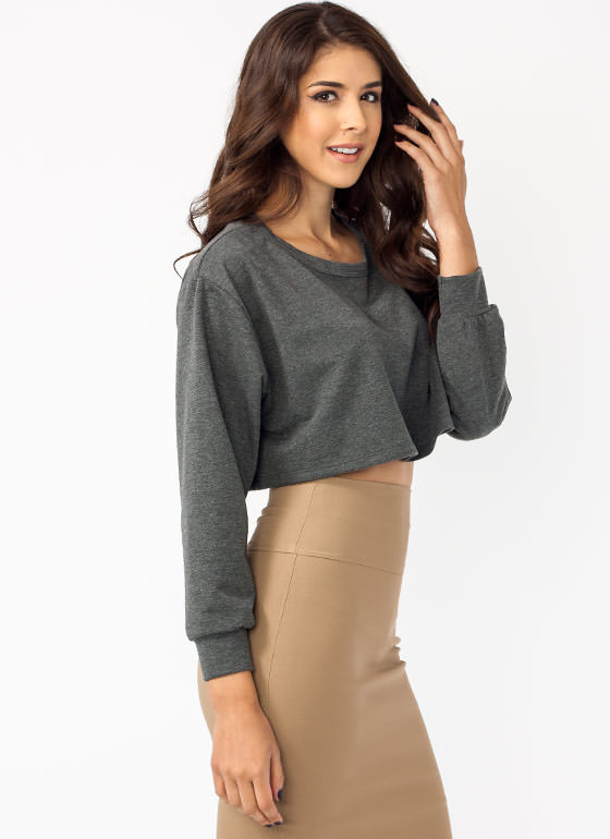 Sew Basic Cropped Top GREY