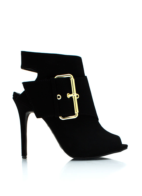 Big Buckle Cannot Lie Heels BLACK