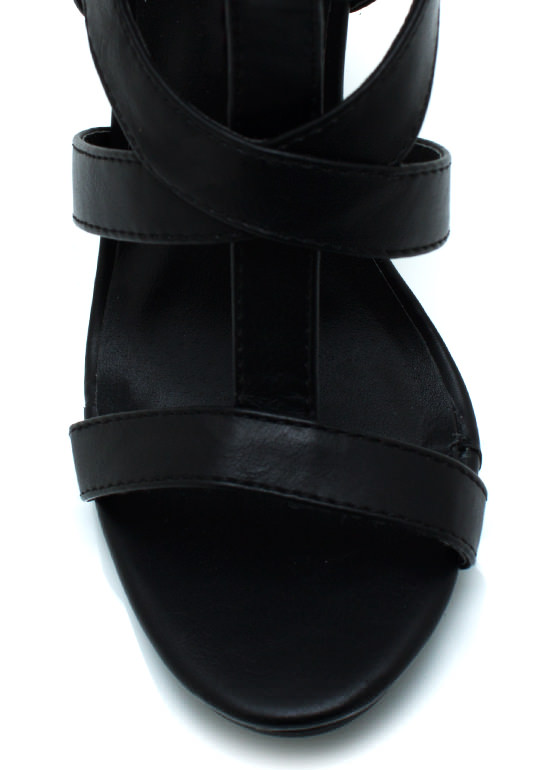 Caged Gladiator Heels BLACK