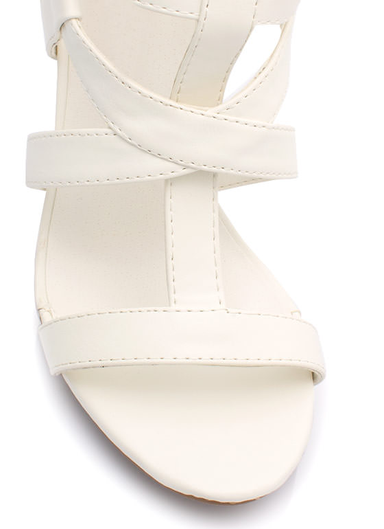 Caged Gladiator Heels WHITE