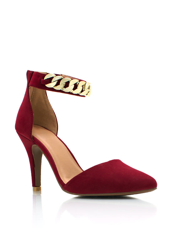 A Chainy Day Pointy Pumps BURGUNDY