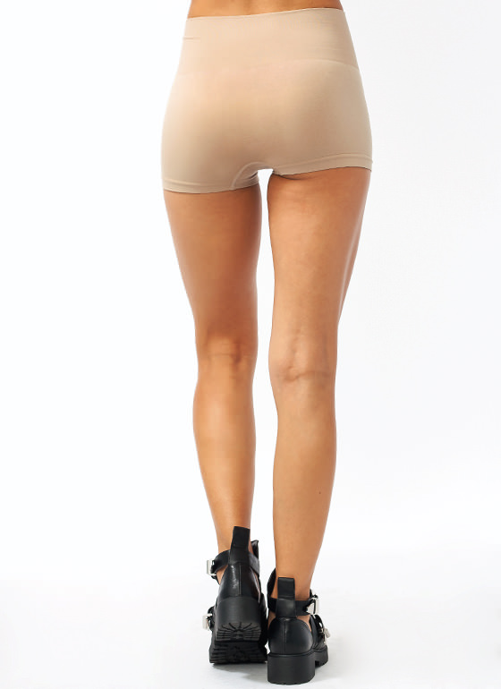 High Waisted Tummy Control Shorts BEIGE