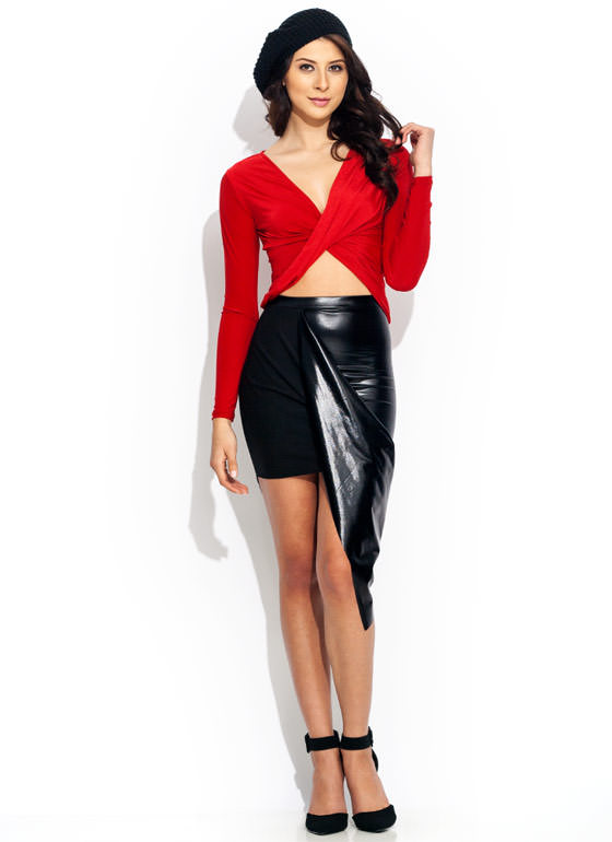 Faux Leather Draped Skirt SHINYBLACK