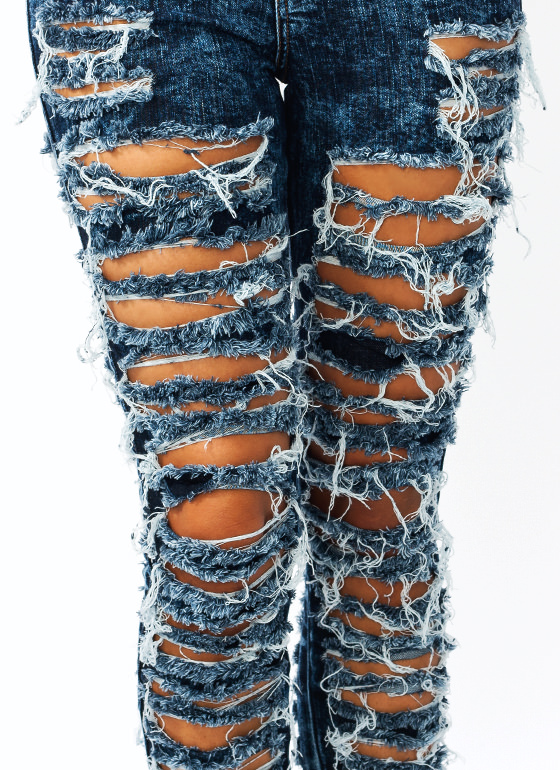 So Destroyed Acid Wash Jeans DKBLUE