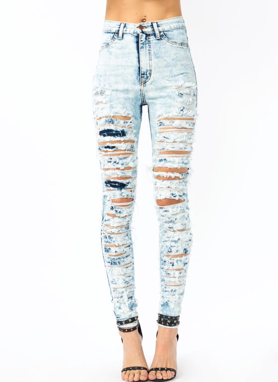 So Destroyed Acid Wash Jeans LTBLUE