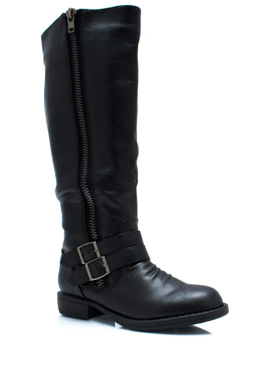 Double Buckle Riding Boots BLACK