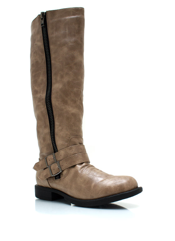 Double Buckle Riding Boots TAUPE