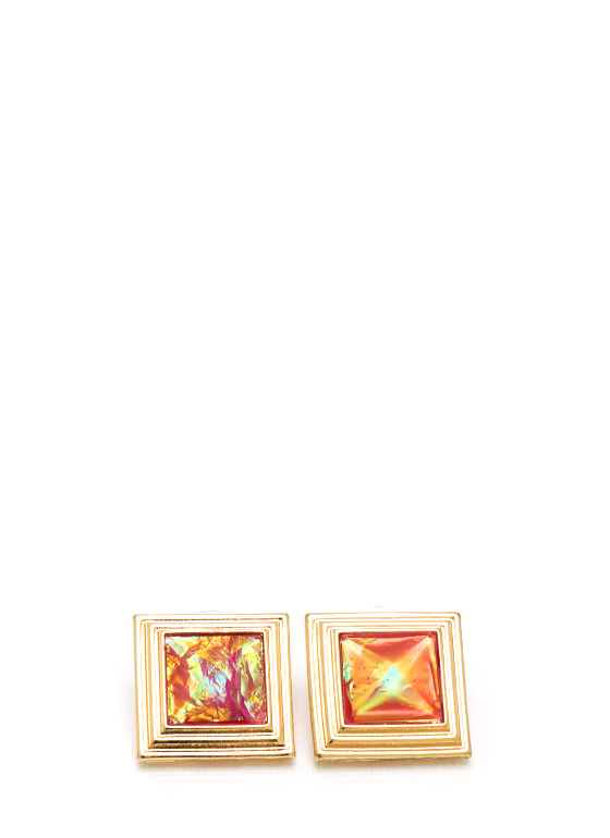 Psychedelic Square Earrings SALMONGOLD