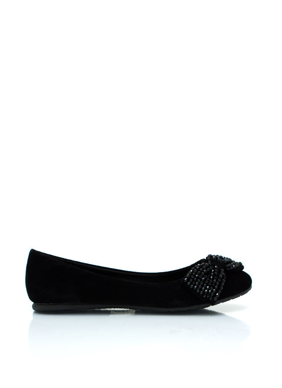 Beaded Bow Velvet Flats BLACK