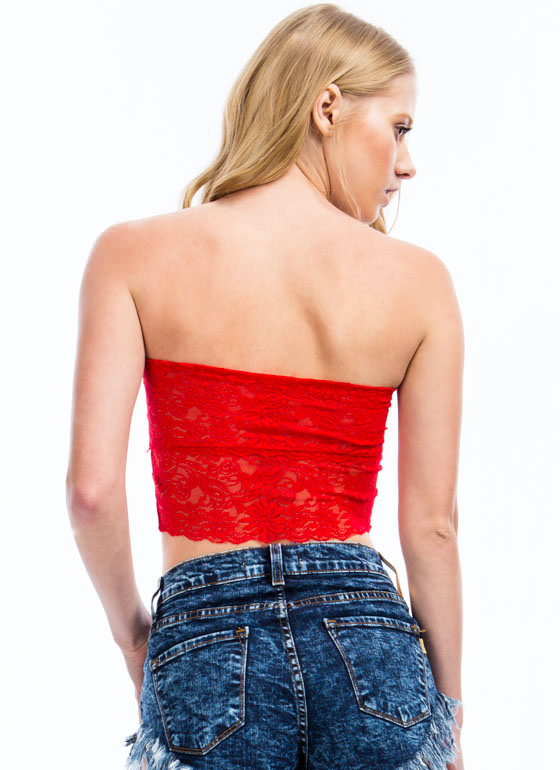 Lacy Cropped Tube Top RED