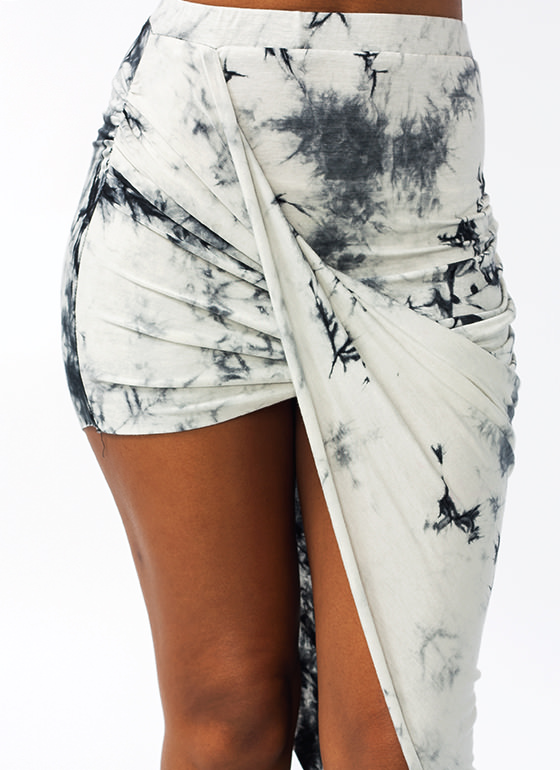 Tie Dye Draped Skirt IVORYBLACK