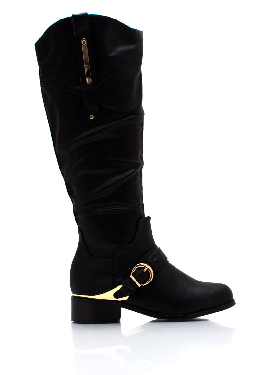 Metallic Accent Harness Boots BLACK