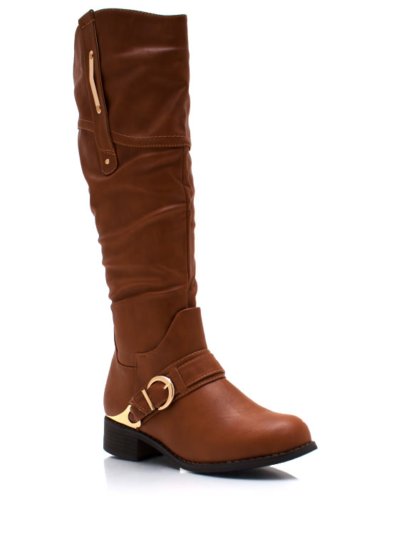 Metallic Accent Harness Boots COGNAC