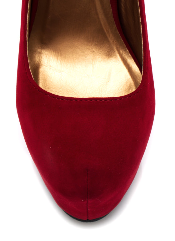 Faux Suede Platform Pumps RED