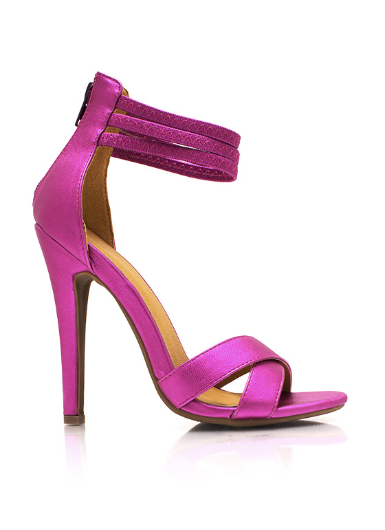 Crisscross Faux Leather Heels FUCHSIA