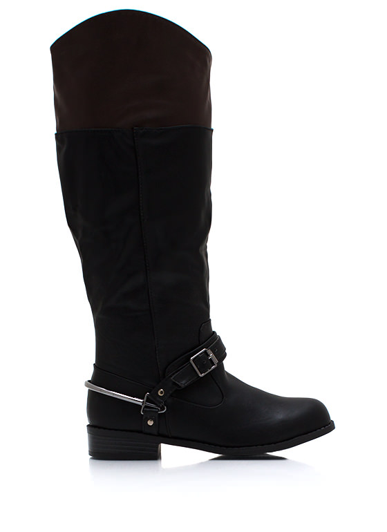Contrast Buckled Riding Boots BLACK