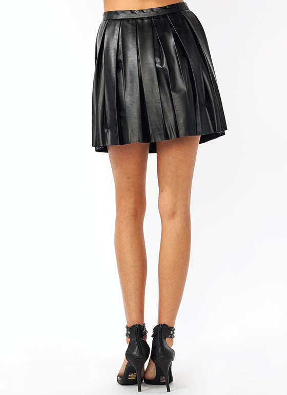 Faux Leather Pleated Skirt BLACK