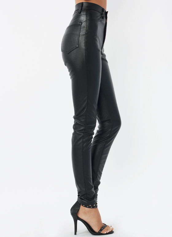 Faux Leather Biker Babe Pants BLACK