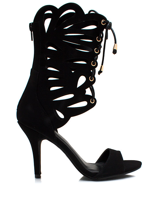 Lace Me Up Butterfly Heels BLACK