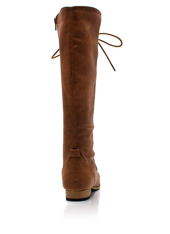 Stand Tall Lace Up Boots COGNAC
