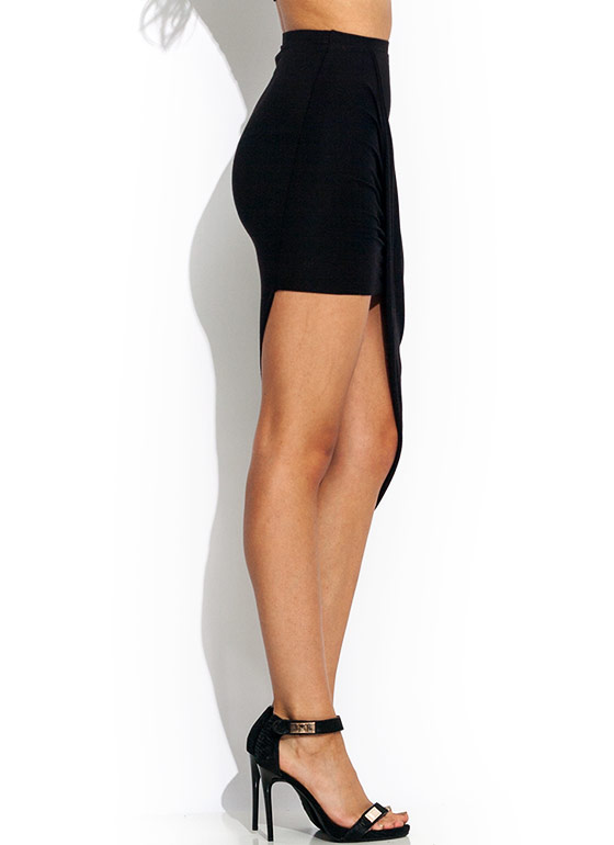 Drape Up Asymmetrical Skirt BLACK
