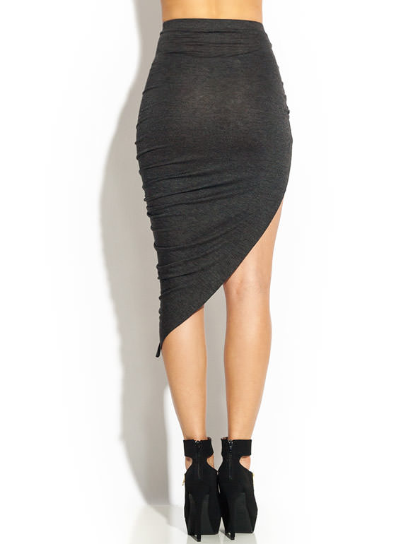 Drape Up Asymmetrical Skirt CHARCOAL
