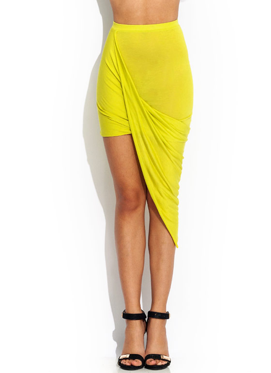 Drape Up Asymmetrical Skirt CITRON