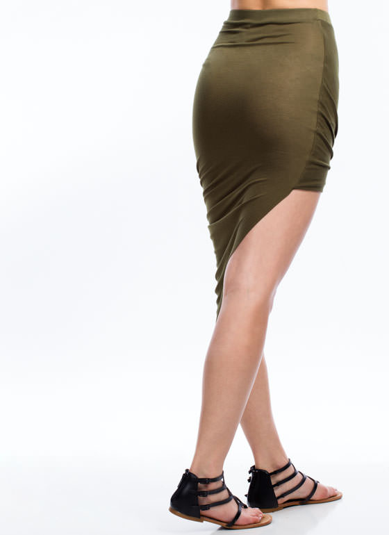 Drape Up Asymmetrical Skirt OLIVE