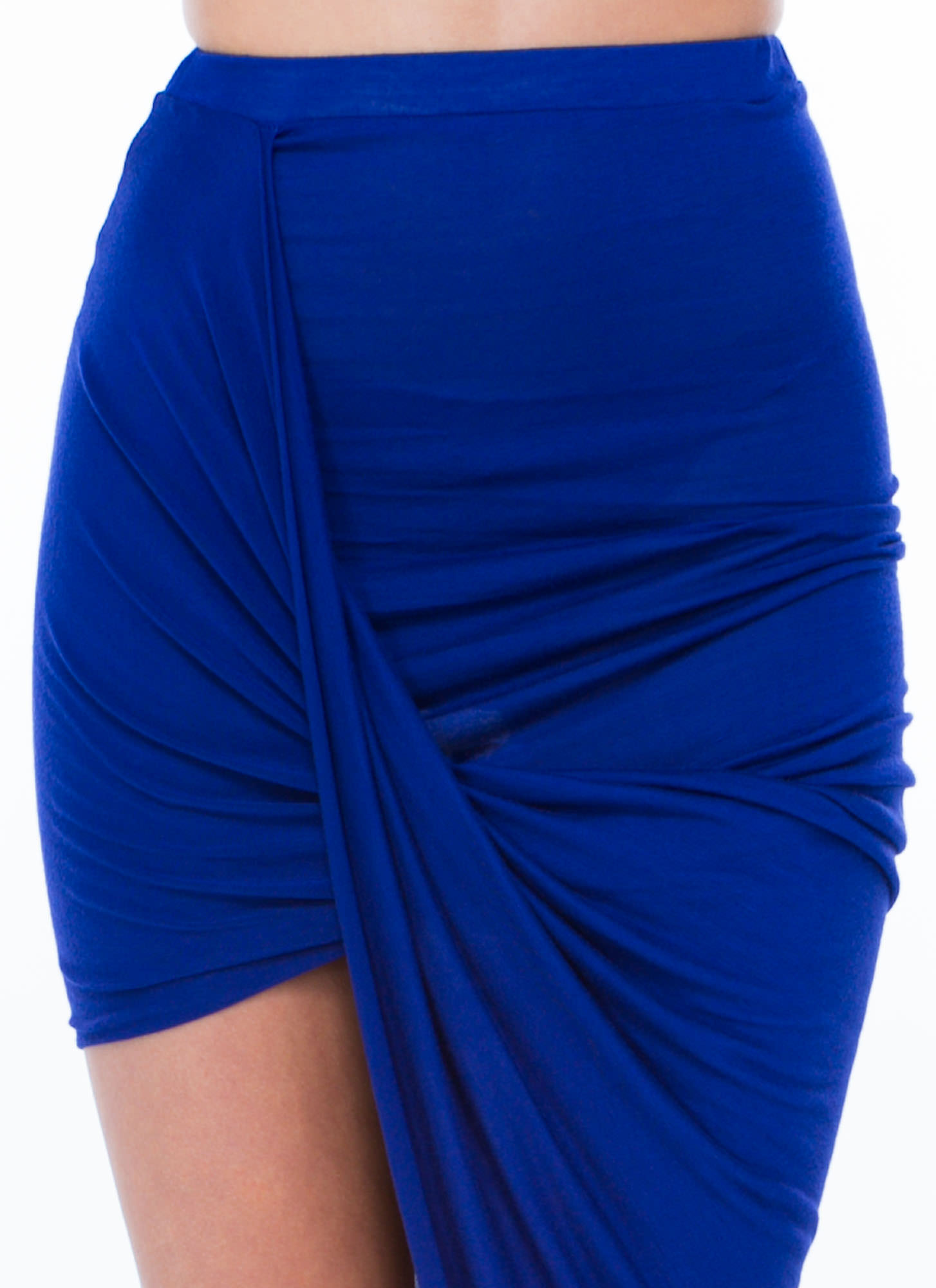 Drape Up Asymmetrical Skirt ROYAL